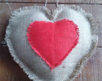 Valentine Pillow - Valentine Heart Pillow - Valentine Cushion - Valentine's Day Gift - Burlap Heart Pillow - Ring Pillow - Decorative Pillow