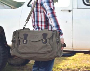 9 Personalized Groomsmen Gift, Military Style Weekend Travel Duffel Bag Canvas Long Weekender, wedding gift, dad gift, graduation gift