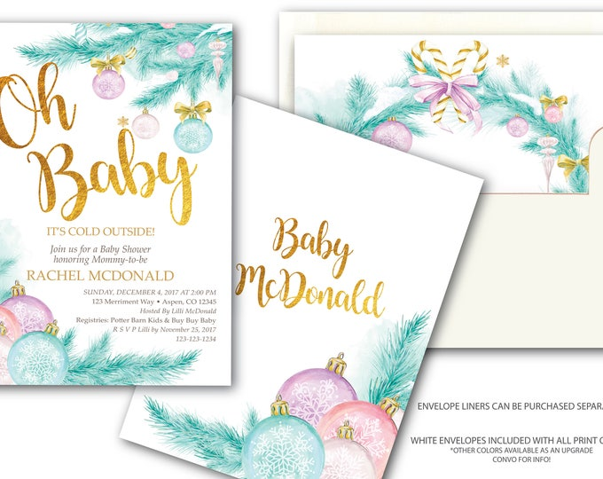 Holiday Baby Shower Invitation // Chirstmas Tree // Winter Baby Shower // Gold // Oh Baby // Pink // Blue // ASPEN COLLECTION
