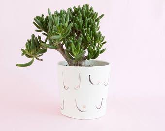 Sheila Boobs medium planter - ceramic pot plant for indoor or outdoor plants