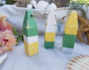 Set of 3 recycled wooden mini buoys perfect for nautical coastal decor