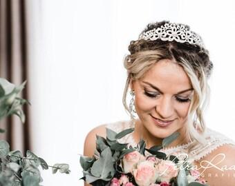 N39 diadem, Tiara, wedding hairstyles, Bohos, bridal hairstyles, hair jewellery, comb, bridal headpieces, Fascination, vintage, ivory