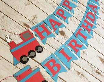 Train Happy Birthday Banner, Train Birthday Banner, Train Banner, Chugga Chugga Choo Choo, Train Birthday, Trains for Two, Boy Birthday