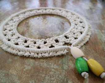 Cream Macrame Cotton Wall Hanging / Knotted Copper Ring Wall Hanging