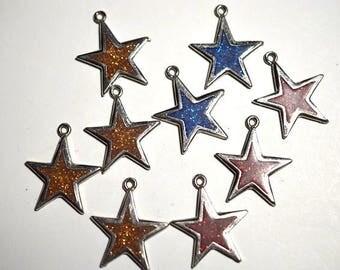 25mm Silver Star Pendants w/ Orange, Red and Blue Glitter (1060481)