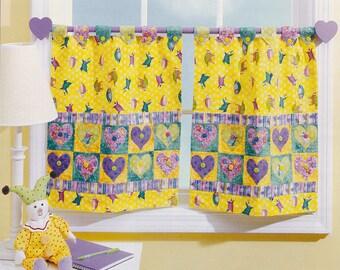 Heart Applique Cafe Curtains Nursery Kitchen Bath Hall - INSTANT DOWNLOAD