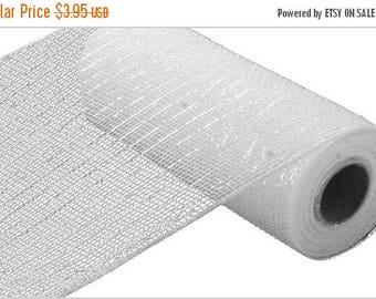 "SALE 10""x10yd white metallic mesh, white mesh,  white mesh, white deco mesh, white poly deco mesh, mesh, deco mesh, poly deco mesh"