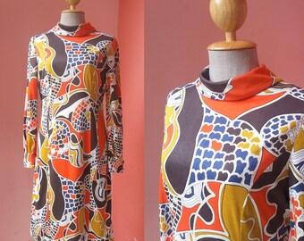 Hippie Dress Boho Dress 70s Dress Sundress Summer Dress Day Dress Vintage 1970s Geometric Print Polyester Dress Long Sleeve Knee Length M