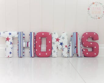 Lilymae Designs Fabric Letters (6 - 12 Letters) New Baby Gift - Nursery - Childrens bedroom - Gift - Birthday Present - Price is per letter