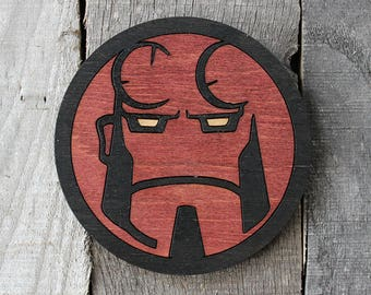 Hellboy Wood Coaster   Rustic/Vintage   Hand Stained and Glued   Comic Book Gift  