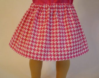 Pink Houndstooth Skirt for American Girl Doll and 18-inch Dolls - Doll Hot Pink Skirt