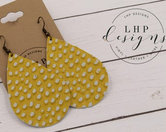 Yellow with White Dot Cowhide Leather Earrings