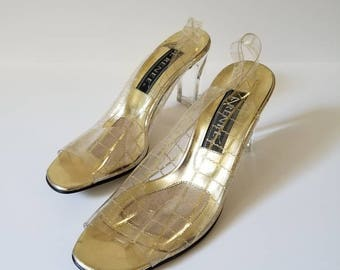Vintage Gold Clear w/Lucite Heels Shoes
