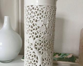 Vintage Blanc de Chine Cherry Bloosom Design Candle holder decorative vase