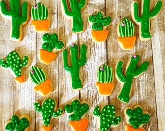 20 minature gourmet sugar cookies : cactus