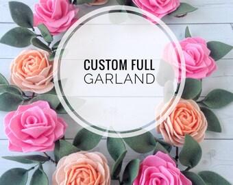 Baby Shower Garland - Floral Garland - Felt Flower Garland - Custom Garland - Floral Nursery Decor - Nursery Garland - Custom Felt Garland