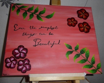 Oil painting (flowers writing)