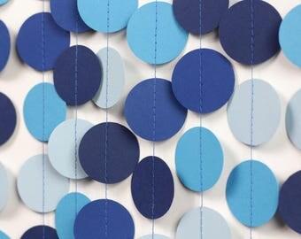 Amazing Blue Ombre Garland   Blue Baby Shower Decorations   Blue Wedding Decor    Blue Paper Garland