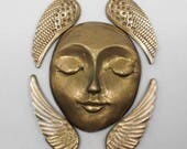 Bronze Face and Angel Wing Jewelry Supply or Mixed Media Art Steampunk Set Art Doll Face Cabochon