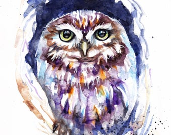 Original Watercolour Barn Owl Painting by Artist Be Coventry Wildlife Animal Art