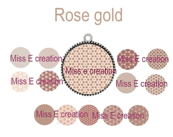 Rose gold plate digital image round cabochon 25mm and 20mm and 18mm