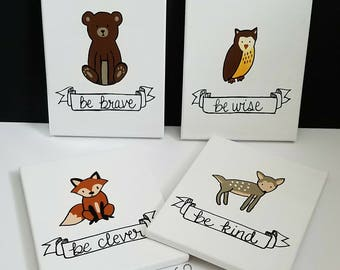 Woodland Nursery Wall Art, Woodland Nursery Decor, Woodland Painting, Woodland Animals, Nursery Wall Art, Neutral Nursery Decor, Canvases