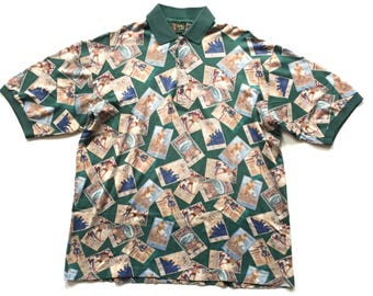 Vintge Bobby Jones Olympic olympiad all over print polo button up Made In Italy XL cotton button up