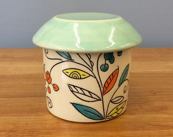 Handmade French Butter Crock in Vine & Blossom Deco. Glazed in Clear and Aqua. MA35