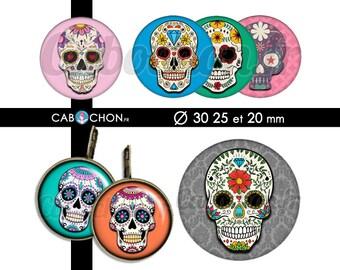 Mexican Skull lll • 45 Images Digitales RONDES 30 25 et 20 mm digital sheet sugar skulls mexicana crane tete de mort muerte printable
