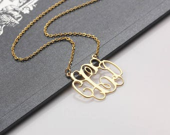 Personalized Monogram Necklace - Monogram Initials Necklace - Initials Name Pendant -  Anniversary, Bridesmaid, Christmas, Wedding Gift