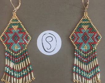 Earrings ethnic cheyenne style in shades of turquoise and red gold