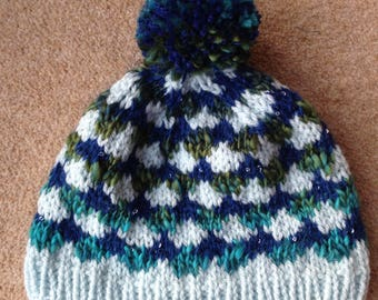 Hand knitted unique bobble hat