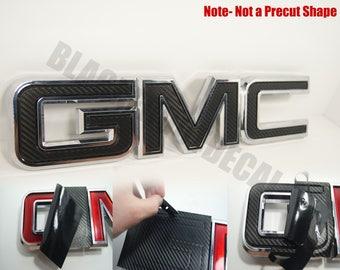 07-13 GMC Sierra - Yukon - Acadia Carbon Fiber Front Grill Emblem Overlay Kit (Black, Silver, Red)