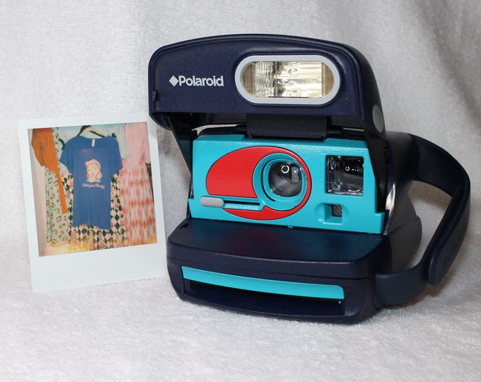 Blue Polaroid Express Camera With Built In Flash And Close Up Lens Upcycled with Turquoise and Red