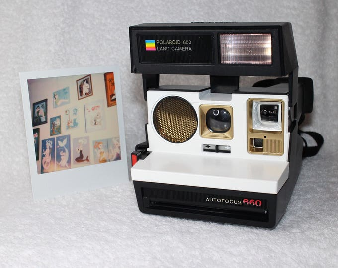 Polaroid 660 Sonar AutoFucus Upcycled White and Gold - Cleaned, Tested and Ready for Fun