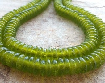 30 Lime Green African Recycled Glass Spacer Beads,African Glass Beads, African Beads, Ghana Glass Spacer Beads, African Beads Krobo Beads