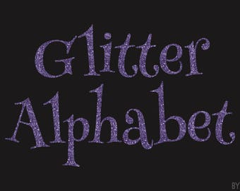Purple Glitter Alphabet Clipart 81 Images PNG Files Letters Numbers Special Characters Commercial Use Graphics Digital Clip Art Set 1
