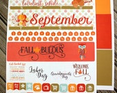 September Monthly View Kit - Monthly Planner Kit - Planner Monthly Layout - Month Full Kit