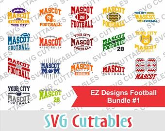 Football svg bundle, football svg, EZ Designs Football Bundle #1, svg, eps, dxf, team, Silhouette file, Cricut cut file, digital download