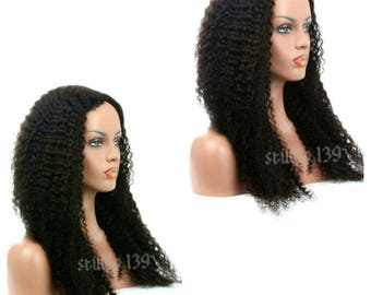 Kinky Curly virgin Brazilian human hair lace front wig