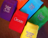 6 Pairs - Wedding Socks in 7 great colours -  Groom, Best Man and Team Groom, Choose your text & colour.