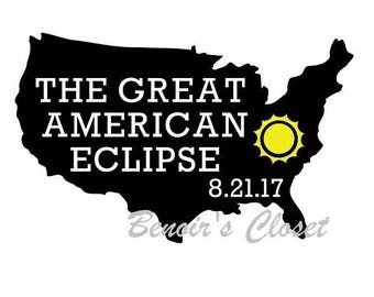Great American Eclipse 2017 SVG File, Vector, Cricut, Silhouette - instant download