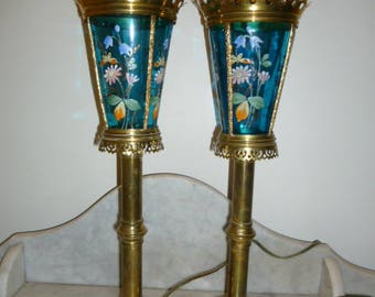 Pair of tall church presbytery blue glass brass lamps circa 1940s