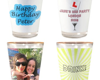 Personalised Photo & Text Gold/White Shot Glass