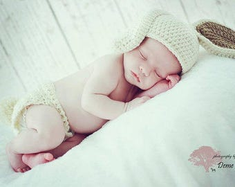 Crochet Bunny Beanie and Diaper Cover Set in Cream and Tan/Photography Prop/Easter/Baby Shower Gifts