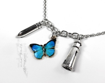 Chloe Price Life is Strange Charm Necklace with Silver Bullet, Blue Butterfly, and Silver Lighthouse
