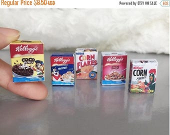 MidYear Sale15% Miniature Cereal Box 5 pcs.,Miniature Cereal,Miniature Corn Flakes Box,Miniature breakfast,Doll's house,Miniature Cereal Jew