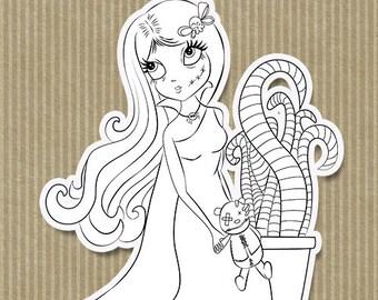 Digital stamps, Zombie girl digistamp, Halloween digistamp, digi stamps, digistamps, coloring page, line art.