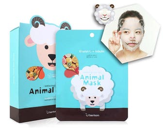 Sheep Animal Face Mask Sheets - Korean Whitening Facial Masks - Bridemaids Beauty, Bridal Shower Games