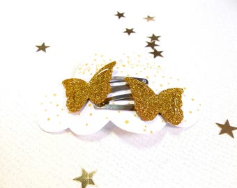 The gold glitter Butterfly Barrette